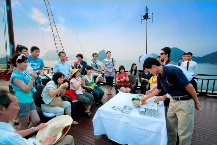 Cooking class on the sundeck